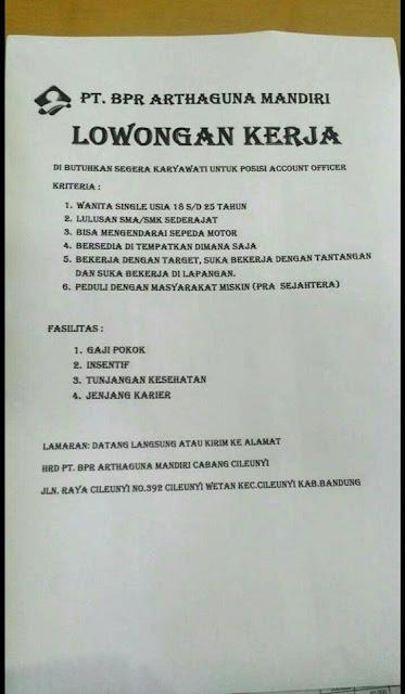 lowongan kerja Account Officer BPR Arthaguna mandiri
