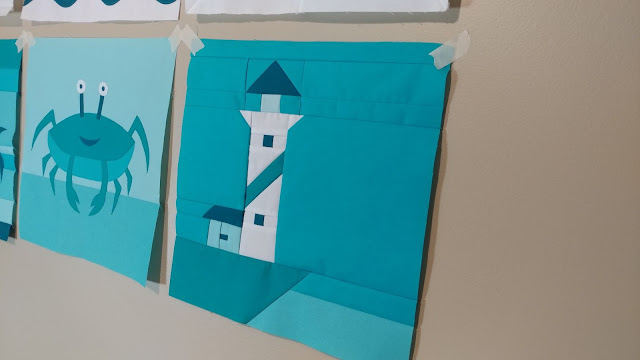 Lighthouse quilt block for QAL By the Sea