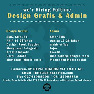 Lowongan Kerja Jogja Desain Grafis dan Admin di Ubin Keraton Jogja