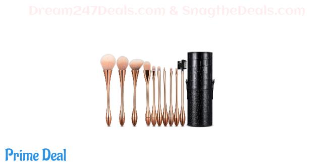 50%off 10Pcs Makeup Brush Set Professional Cosmetic Brushes For Blending Foundation Powder Blush Concealers Highlighter Eye Shadows Brushes Kit