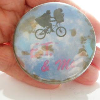 Original ET badge on bike over moon