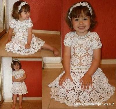 Летнее ажурное платье для девочки.