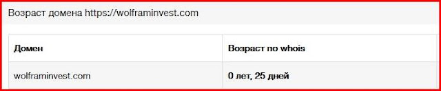 Возраст домена wolframinvest: