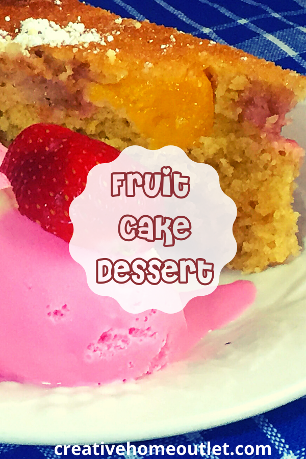 A delicious, zesty and moist fruit cake dessert that is easy to make, and infused with the juices of the strawberries and peaches layered inside it.n