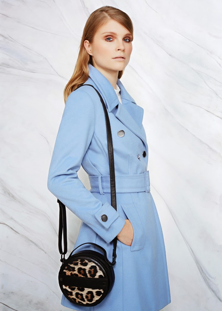 MARKS AND SPENCER PER UNA TOP £29, PER UNA COAT £99, BAG £29.50