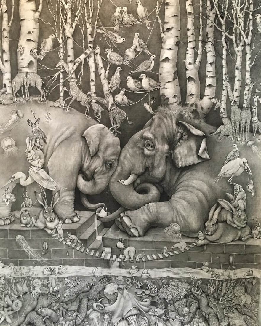 05-Small-and-Very-Large-Surreal-Animal-Drawings-www-designstack-co