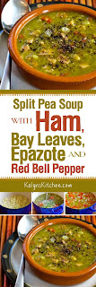 Split Pea Soup with Ham, Bay Leaves, Epazote and Red Bell Pepper (or Carrots) found on KalynsKitchen.com.