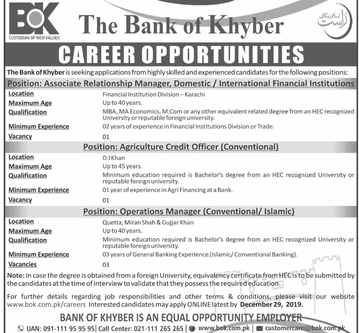 Jobs in The Bank of Khyber BOK 2019