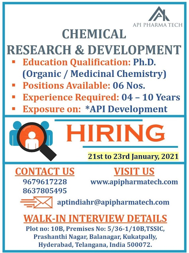 API Pharmatech | Walk-in interview for R&D on 21st&23rd Jan 2021