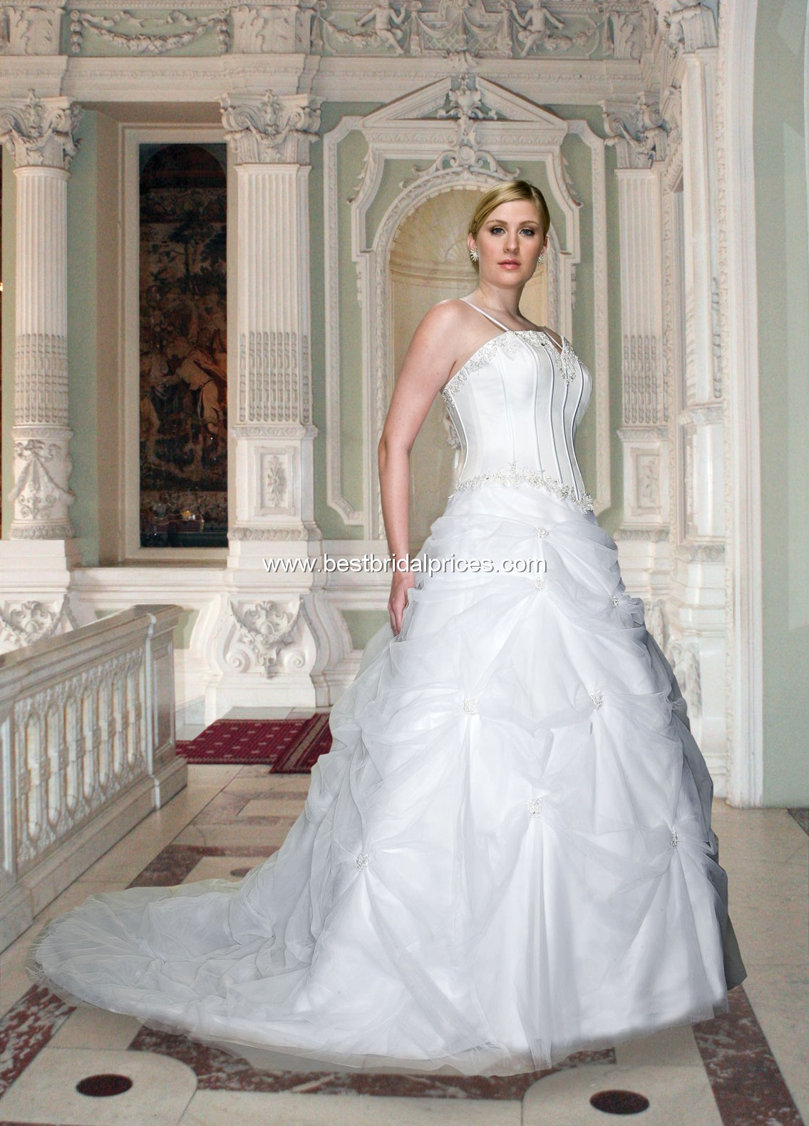 7982aeb90 ... Plus Size Wedding Dresses. Satin strapless gown with notched neckline