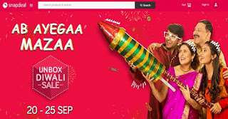 Snapdeal Unbox Diwali Sale - Get upto 70% off + 10% discount via Axis Bank card(20-25th September)