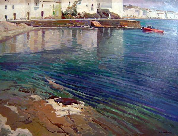 Playa Portdoguer de Cadaqués, José María Vila Cañellas, Cadaqués en pintura, Pintura Catalana, Pintores españoles, pintura española, impresionismo español