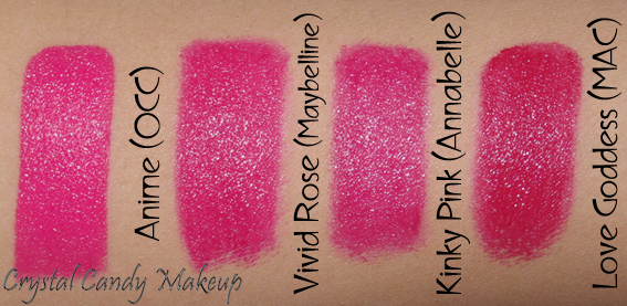 Rouge à lèvres / Lipstick Color Sensational 875 Vivid Rose de Maybelline - Anime OCC - Kinky Pink Annabelle - Love Goddess MAC