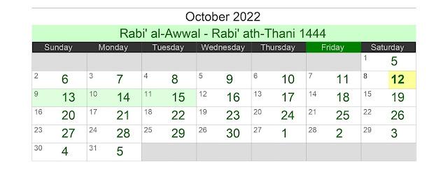Kalender Hijriah Bulan Oktober 2022 Lengkap Jadwal Puasa