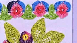 Patrones de flores y hojas tejidas - crochet irlandés