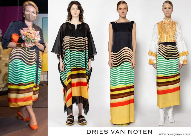 Queen Mathilde wore a skirt and blouse by Dries Van Noten of Spring Summer 2021 collection