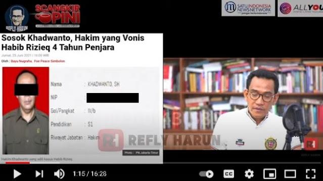 Ungkap Sosok Hakim yang Vonis HRS, Refly Harun: Seperti Algojo Bertangan Dingin