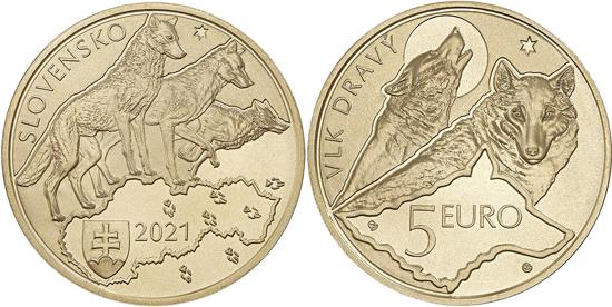 Slovakia 5 euro 2021 - Fauna and flora: Wolf
