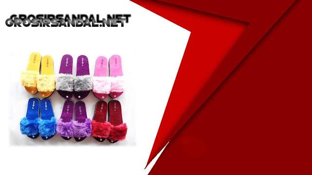 Sandal Teplek Slop Bulu GSJ - Sandal Terlaris