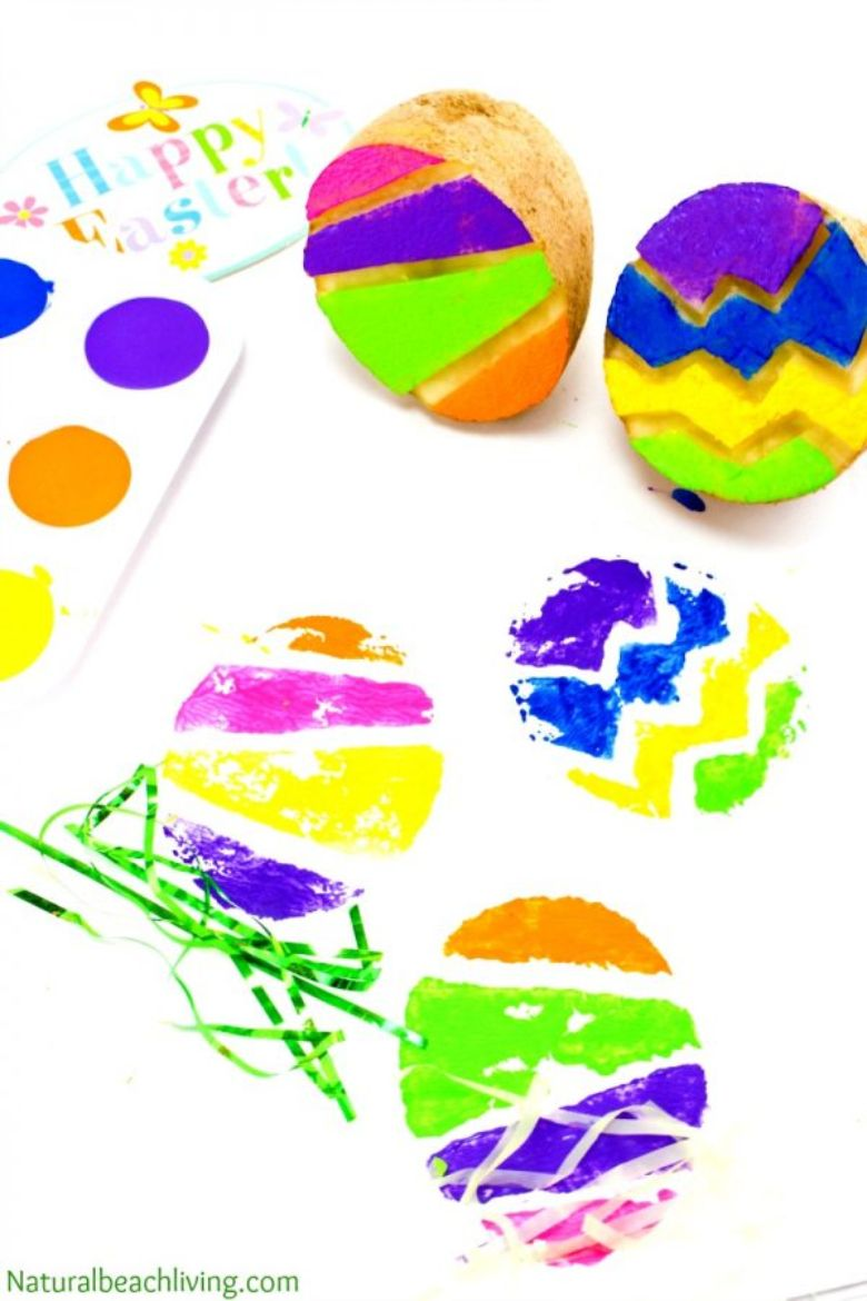 Easter crafts for toddlers - Easter egg potato stamping