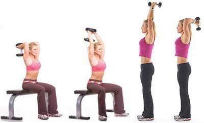 Ejercicio de extensión de brazo de pie y sentada para trabajar los músculos triceps en mujeres