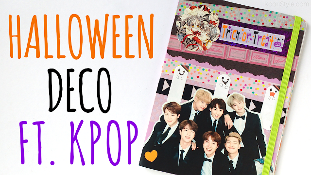 Koori Style, KooriStyle, Kpop, Deco,Halloween, BTS, VIXX, Bangtan,Tutorial, Notebook, Journal, Libreta, Cuaderno, Decoracion, Escuela, School, Supplies, Easy, Cute, Simple, Washi Tape, Cinta Washi
