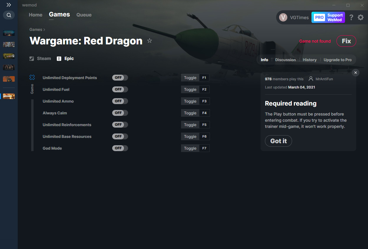 Wargame: Red Dragon: Trainer (+7) from 03/04/2021 [WeMod]