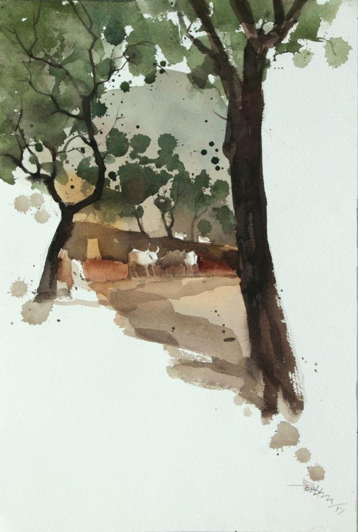 Минималистские пейзажи акварелью. Prashant Prabhu