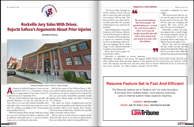 Attorney Jason L McCoy Gets Verdict in Rockville for Personal Injury, Law Offices of Jason L. McCoy, LLC Connecticut Persoanl Injury Attorney