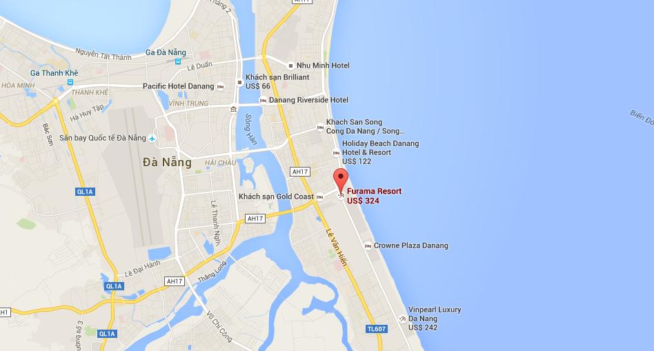 Vị trí Condotel Ariyana Beach Resort & Suite Đà Nẵng