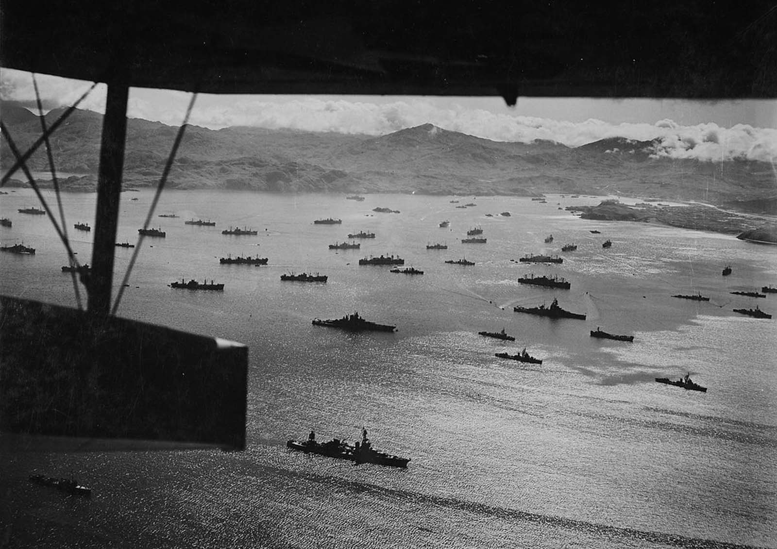 Adak Harbor in the Aleutians, with part of huge U.S. fleet at anchor, ready to move against Kiska in August of 1943.