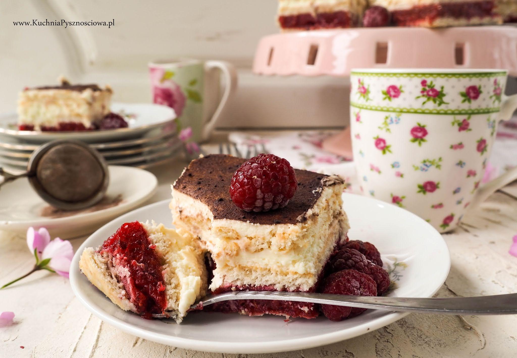 751. 3 bit z malinami i białą czekoladą-ciasto bez pieczenia