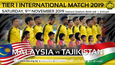 Live Streaming Malaysia vs Tajikistan 9.11.2019
