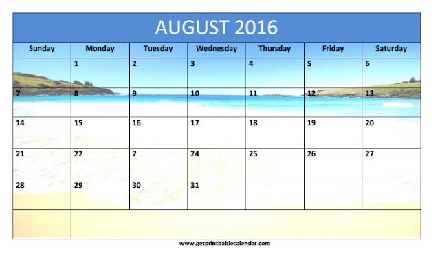 August 2016 Beach Calendar, August 2016 Beach Calendar Printable, August 2016 Beach Calendar Template, August 2016 Beach Blank Calendar
