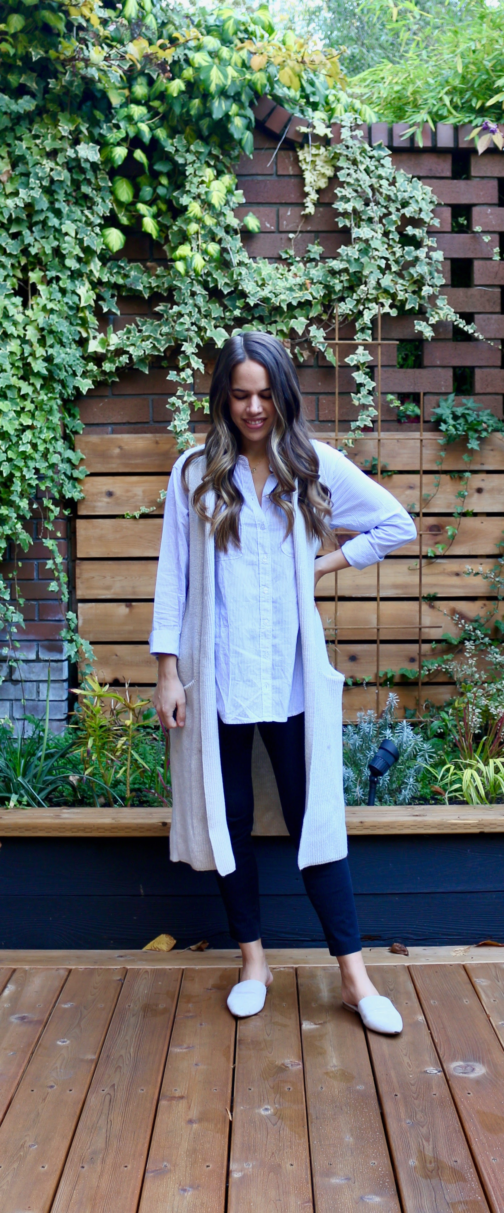 Jules in Flats - Oversized Shirt with Knit Duster Vest (Business Casual Workwear on a Budget)