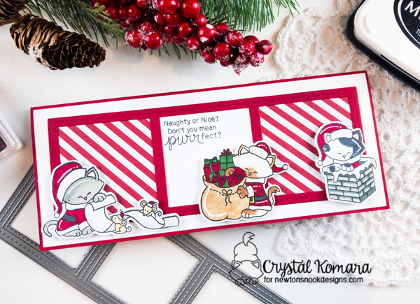 Naughty or nice by Crystal features Santa Paws Newton and Slimline Frames & Windows by Newton's Nook Designs; #newtonsnook, #cardmaking, #Christmas