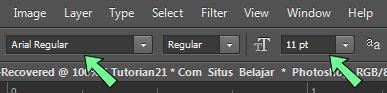 Cara mengubah ukuran dan jenis font photoshop