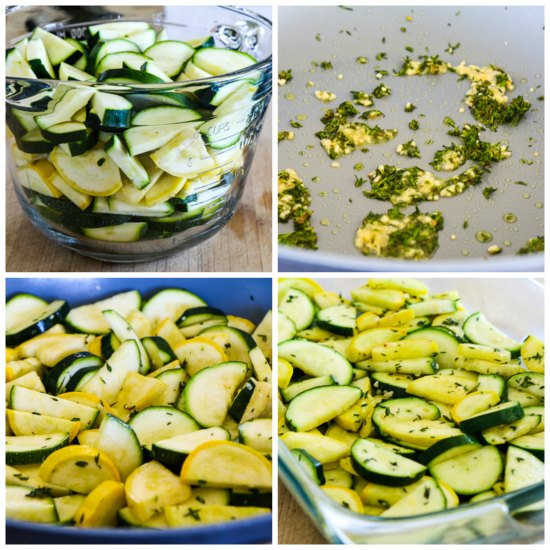 Low-Carb Zucchini Bake with Feta and Thyme found on KalynsKitchen.com