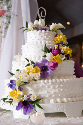 White Wedding Cakes With Yellow And Purple Touch Wedding