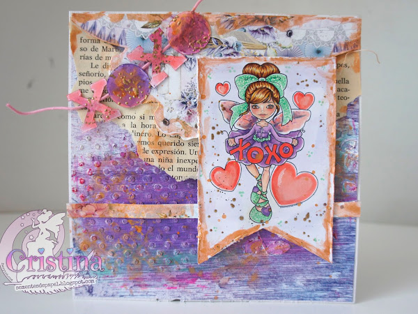 XOXO Fae, a mixed media card for St Valentine
