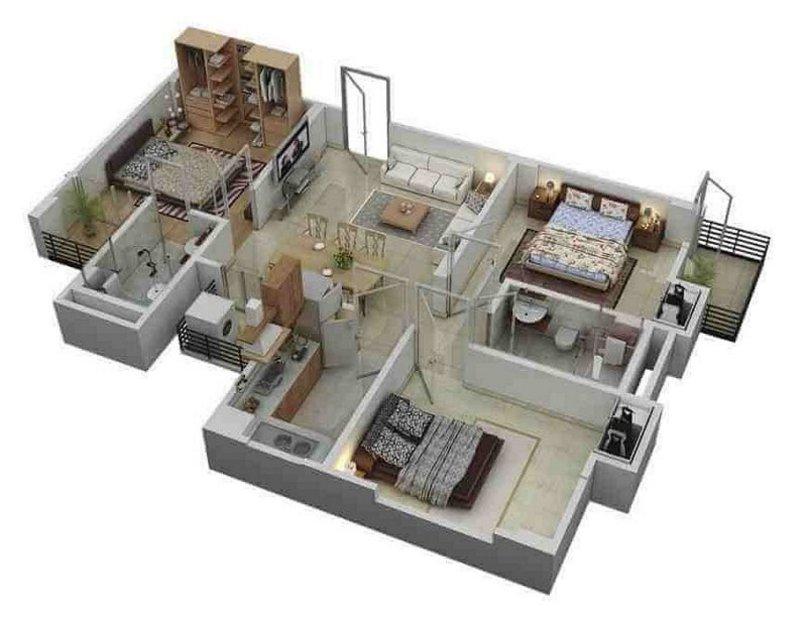 denah rumah 9x12 3 kamar tidur yg bagus