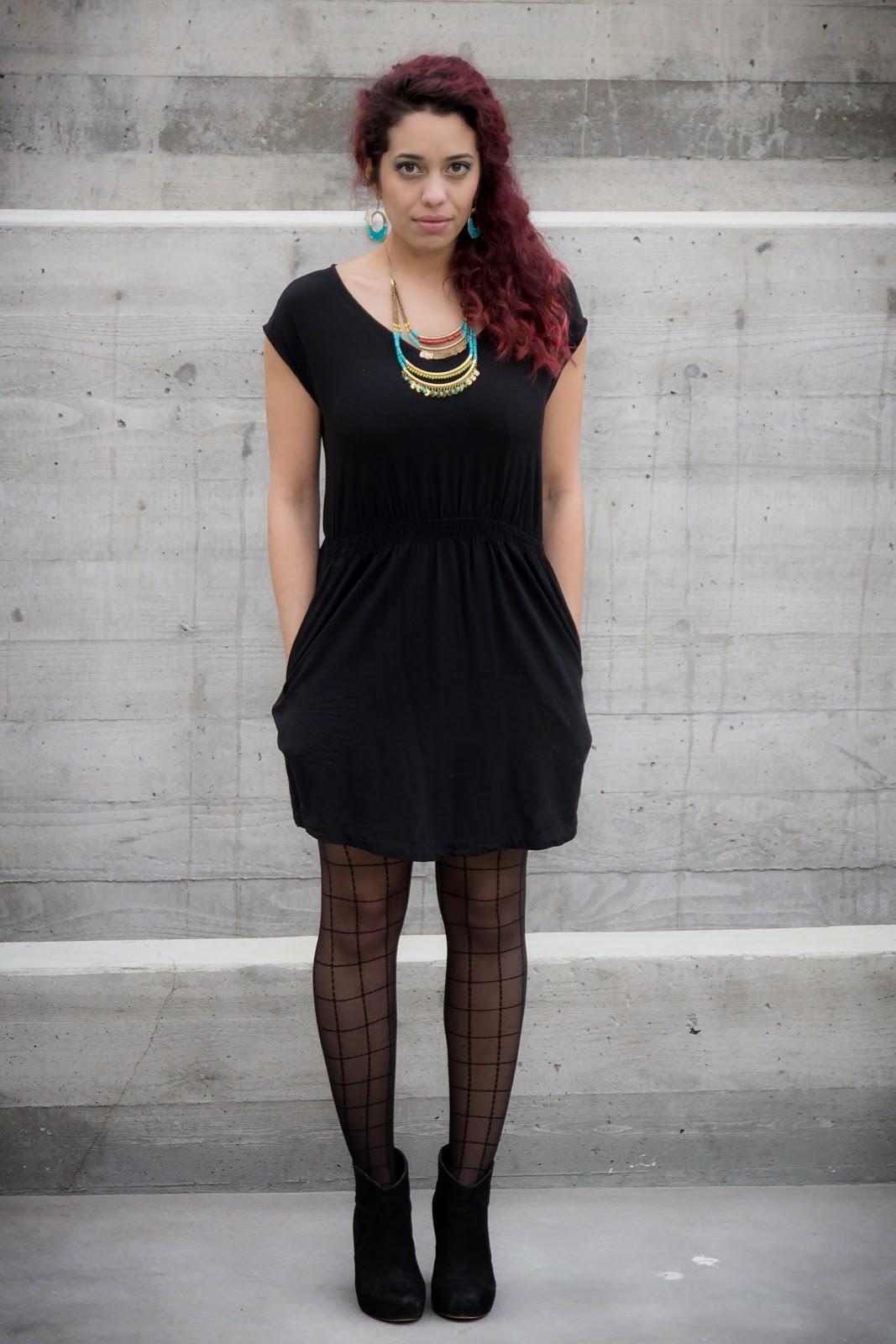 pattern black tights with black dress - HD1067×1600