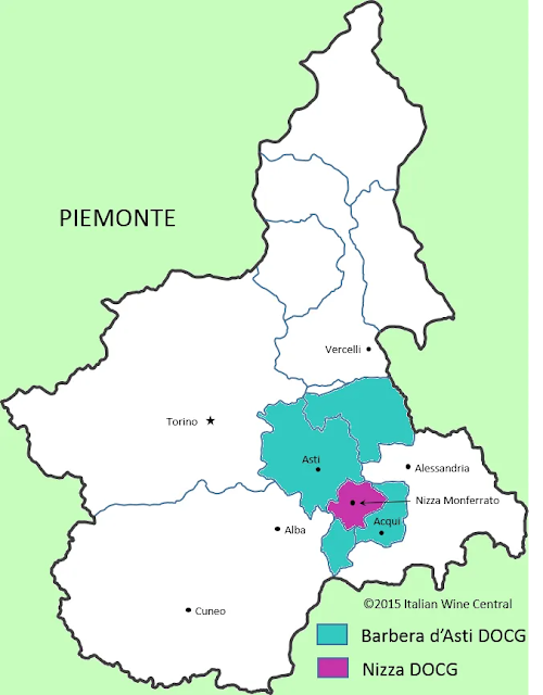 Barbera d'Asti wine region of Piedmont