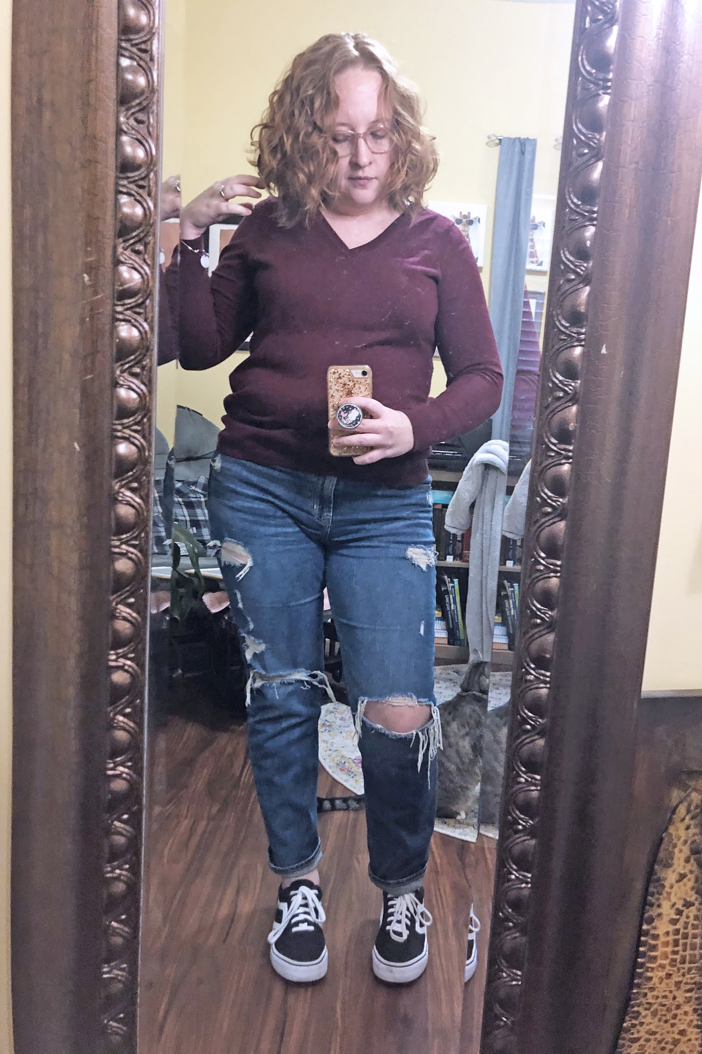 purple sweater boyfriend jeans