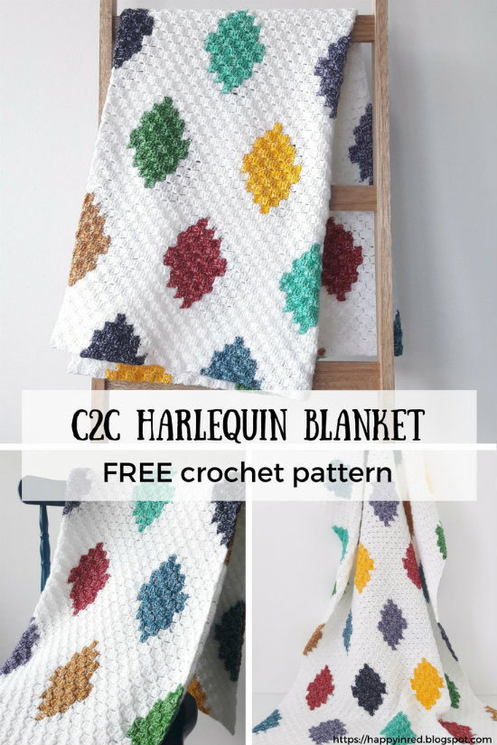 C2c Harlequin Blanket Free Crochet Pattern Happy In Red