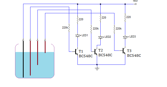 Simple Water Level Indicator Circuit Using Transistors