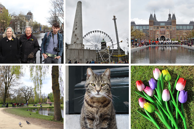 The Butterfly Balcony - Wendy's Week Liverpool to Amsterdam -  Family on a bridge // Dam Square with its war memorial and amusements // I amsterdam sign outside museums// Vondelpark // Cheating on Beau with another grumpy cat //Mum & my wooden tulips