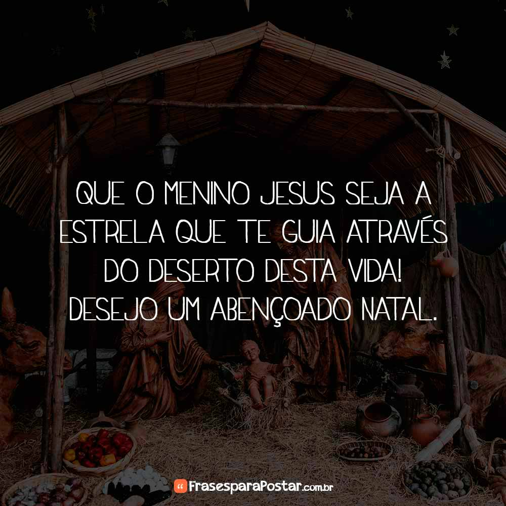 Que o menino Jesus seja a estrela que te guia através do deserto desta vida! Desejo um abençoado Natal.