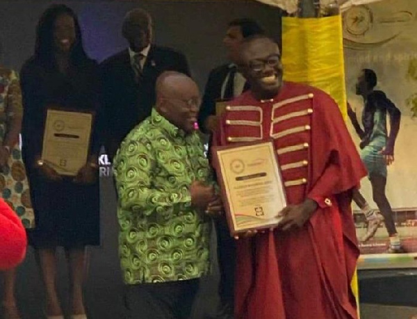 President Akufo Addo Awards Bola Ray For Empowering The Youth