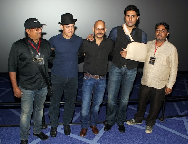 Aamir Khan, Vijay Krishna Acharya, Abhishek Bachchan at trailer launch of Dhoom 3